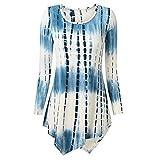 BHYDRY Damenmode O-Ausschnitt Print Langarm-lose Tops T-Shirt Bluse (2XL,Blau)