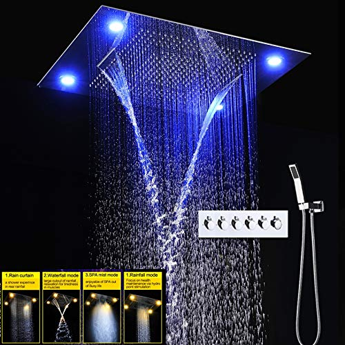 YAMEIJIA Badewanne elektrische Dusche Dusche 5 Funktion Decke Massage Dusche Artischocke Set Nebel Nebel Regenwasser Warmwasserhahn/kaltes Wasser Duscharmatur