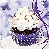 Artland Qualitätsbilder I Glasbilder Deko Glas Bilder 30 x 30 cm Ernährung Genuss Süßspeisen Dessert Foto Weiß A6FP Cupcake auf violett - Kuchen