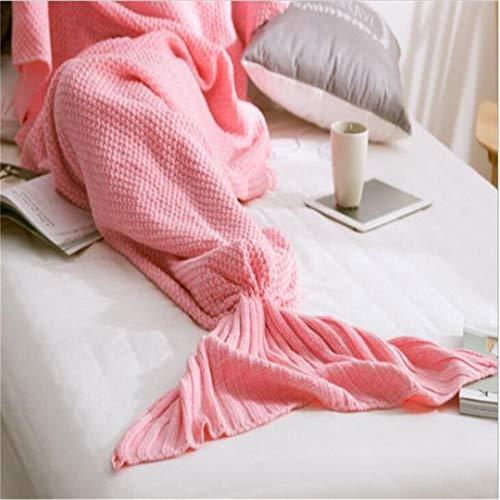BFHLRDE Mermaid Tail Decke Garn Gestrickte Handarbeit häkeln Meerjungfrau Decke Kinder Werfen Bett Wrap Super Soft Schlaf Bett 4 Größen 1pcs / Lot Pink 70x140cm for Kids