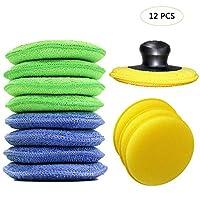 Bebester Wax Applicator, 12 Pieces Car Polish Applicator Pads Microfiber Polishing Pads with Finger Pocket Car Waxing Sponge Foam Pads for Cars Wax Applicator Foam Sponge