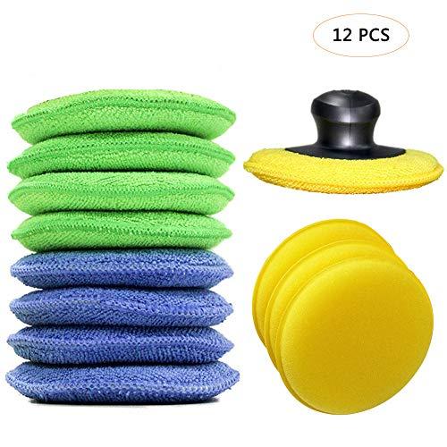 Wachs-applikator-schwamm (Bebester Polierpads, 12 Stück, Mikrofaser-Wachs-Applikator, Wachs-Polierpads mit Finger-Polierwachs-Applikator für Autos, Wachs-Applikator, Schaumstoff-Schwamm)