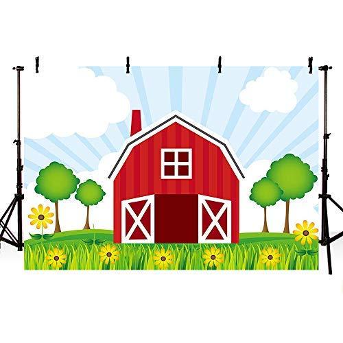 Mehofoto 17,8 x 152,4 cm Cartoon-Bauernhof, rote Scheune, Fotostudio, Hintergrund Tiere, grüner Baum, Gras, Himmel, Kindergeburtstag, Party-Dekoration, Banner Hintergründe für Fotografie