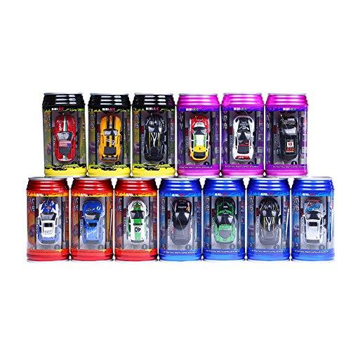 ELENKER Mini RC ferngesteuertes Auto, 1:63 Rennauto, Coladose Verpackung, Fernsteuerung mit Ladefunktion inkl. Zubehör, Zufallsfarbe
