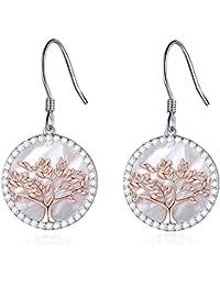 2d55813c7bb1 MEGACHIC Pendientes para Mujer Árbol de la Vida Plata 925 con Nácar  Cristales ...