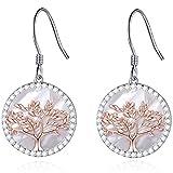 MEGACHIC Damen Ohrringe Lebensbaum aus 925 Sterling Silber mit Perlmutt Kristallen von Swarovski