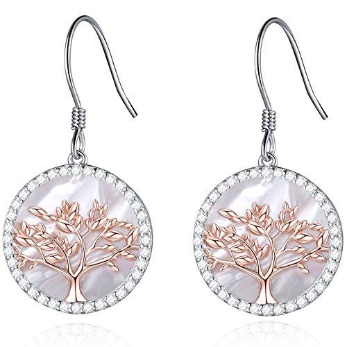 MEGACHIC Damen Ohrringe Lebensbaum aus 925 Sterling Silber mit Perlmutt Kristallen von Swarovski (Diamant-ohrringe Sterling Silber)