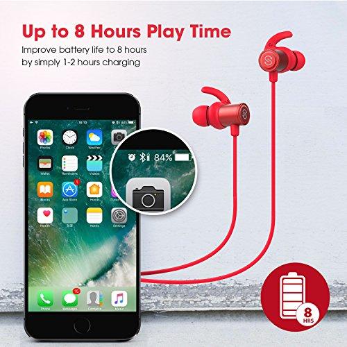 SoundPEATS Auriculares Bluetooth 4.1 Magnéticos In ear Cascos Deportivos Inalámbricos con Mic  Resistente al Agua IPX6  Max Duración 8 Horas para iPad  iOS Android Móviles Smartphones PC (Rojo)