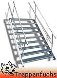 9 Stufen Stahltreppe mit beidseitigem Geländer / Breite 100 cm Geschosshöhe 135-180cm / Robuste Außentreppe / Wangentreppe / Stabile Industrietreppe für den Außenbereich / Inklusive Zubehör