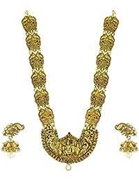 Zaveri Pearls Antique Gold Temple Necklace Set for Women - ZPFK4442