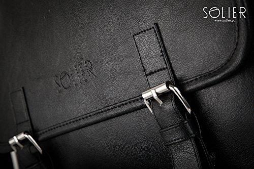 Solier Leder Herren Schulter Notebook Tasche Premium Vintage S12 Dunkelschwarz