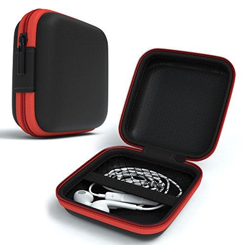 EAZY CASE Universal Tasche für In-Ear Kopfhörer mit Netzfach - Hardcase Aufbewahrungsbox, Schutztasche mit umlaufenden Reißverschluss, extra klein, eckig, - Aus Leder Kopfhörer-case