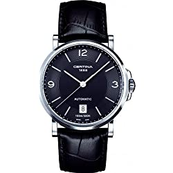 Certina 1888 – Swiss Made 0 - Reloj de automático para 0, con correa de piel de borrego, color negro