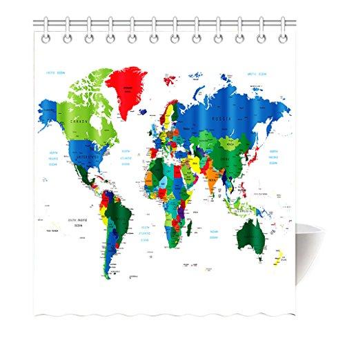 Preisvergleich Produktbild Violetpos Duschvorhang Weltkarte Grün Weiß Hochwertige Qualität Shower Curtain 180 x 200 cm