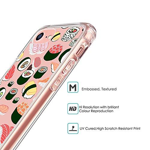iPhone 8 Hülle, iPhone 7 Hülle, MOSNOVO Niedlich Sushi Muster TPU Bumper mit Hart Plastik Hülle Durchsichtig Schutzhülle Transparent für iPhone 7 (2016) / iPhone 8 (2017) (Sushi) Sushi