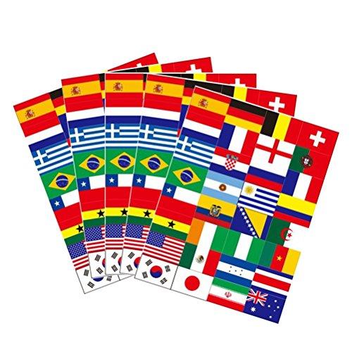 BESTOYARD Nationalflagge Fahne Länder Top 32 Temporäre Tattoos Aufkleber Fanartikel Fussball WM 2018 5 Blatt - Uruguay Wm
