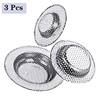 3Pcs Kitchen Skin Drain Strainer,Stainless Steel Catcher Shower Drain for Kitchen or Bath Sink Drain Filter 7 9 11 cm