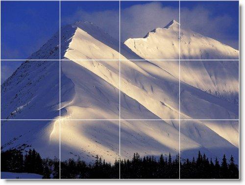 MOUNTAIN IMAGEN TRASERA SPLASH TILE MURAL M134  12 75X 17PULGADAS CON (12) 4 25X 4 25AZULEJOS DE CERAMICA