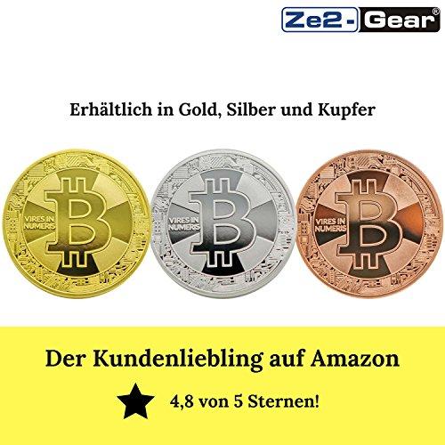 Bitcoin Münze Gold – 24 Karat Gold Beschichtung, Design 2017 aus Deutschland, hochwertige Optik, schwere Qualität, ideal als Geschenk oder Glücksbringer - 5