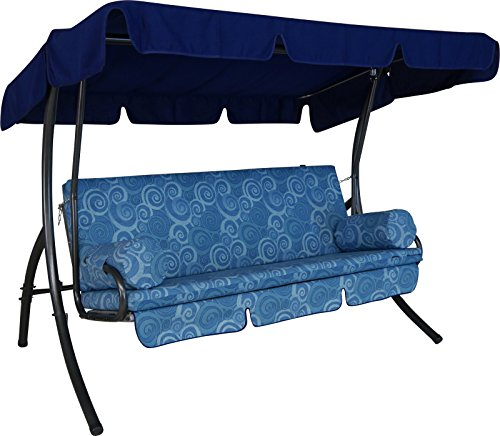 Angerer Trend Hollywoodschaukel 3-Sitzer Design Santorin, blau, 210 x 145 x 160 cm, 1920/096/04