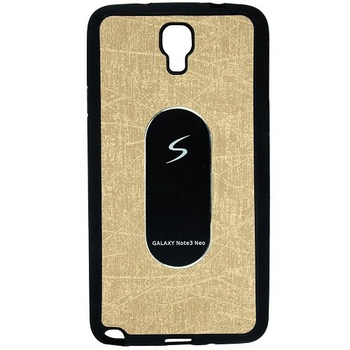 Casotec Metal Back TPU Back Case Cover for Samsung Galaxy Note 3 Neo - Golden  available at amazon for Rs.119