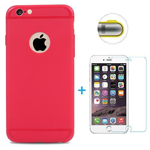 Mavis's Diary Gemalt TPU Softcase für iPhone 6 6S(4,7 Zoll) Smartphone Tasche Hüllen Scratch Telefon-Kasten Handyhülle Scrub + 1x Hartglas Stahlfolie(Anti Blaues Licht) Rose