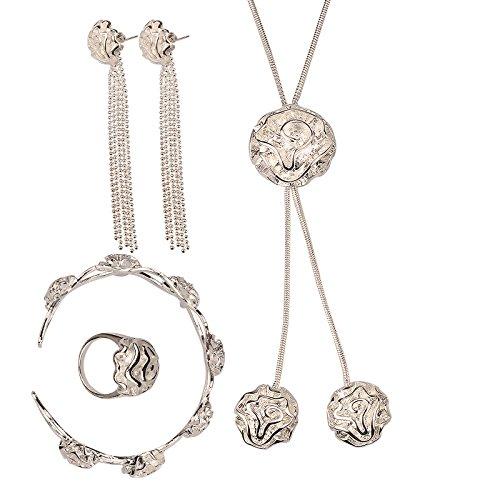 02e0f2dd2331 Hot Sale boda Fashion 925 bañado en plata Juego de joyería cadena de mano  pulsera collar anillo de ley eardrop una rosa con dos colgante