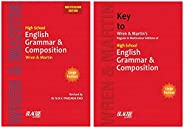 High School English Grammar & Composition Book (Multicolour Edition) + Key to Wren & Martin (Set of