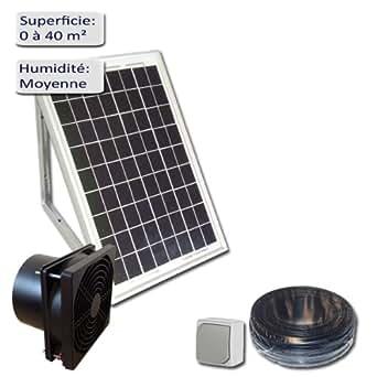 Kit de ventilation solaire 5W 12V avec fixations - extracteur d'air 100m3/h