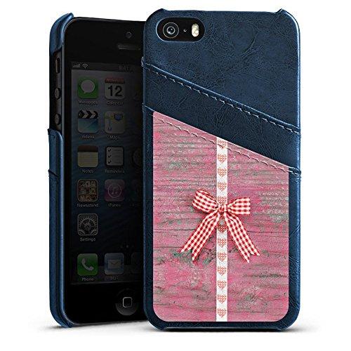Apple iPhone 5s Housse Étui Protection Coque Boucle C½ur bois Fête de la bière Étui en cuir bleu marine
