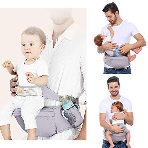 Viedouce Portabebé Ergonómico Asiento de Cadera,con Protección del Cinturón la Seguridad,Algodón Puro Ligero,Taburete de Cintura de Posición Múltiple por Bebé Niños 3-48 Meses(Gris)