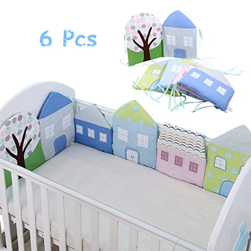Paracolpi Lettino, Culla Paraurti Pads Bed Cradle Protector, Culla Sleep Bumper Pillow, Bed Rail Decoration, Forma casa, 6pcs Set