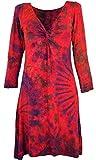 Guru-Shop Batik Minikleid, Knielanges Boho Batikkleid, Damen, Himbeerrot, Synthetisch, Size:38, Kurze Kleider Alternative Bekleidung