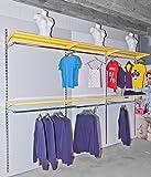 Rückwandsystem 3,7 m (4 Schienen + 6 Böden gelb + 6 Konfektionsrahmen) Ladenbau Ladeneinrichtung Regal Konfektionsrahmen Kleiderständer Kleideraufbewahrung Regalsystem