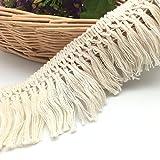 fqtanju 5Meter x 6cm/2cm breit Quaste aus Baumwolle Fransen in Beige. 6cm 1