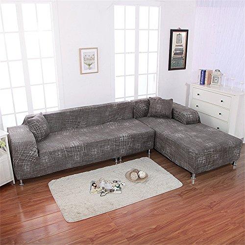 Htdirect 2pcs stretch stampato copridivano ad alta resistenza elastica in poliestere divano slipcovers + 2pcs federa per divano componibile divano angolare con antiscivolo antiscivolo 0786