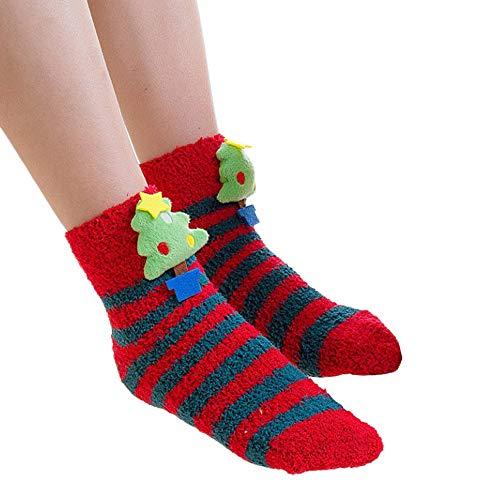 TEBAISE Frauen Damen Mädchen-Ineinander greifen-Weihnachtsdruck-Blumentuch warme kurze Karikatur-starke Sportsocken Socken