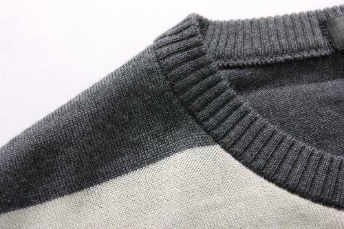 SSLR Herren Freizeit Farbblock Kariert Dünn Wolle Pullover Grau