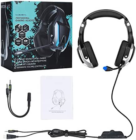 OUYAWEI Gaming Earphone 7.1 Headset Helmets with Dual Mic Gaming Earphones PC Gamer with Volume Control for PUBG PS4 CSGO Casque Games Black