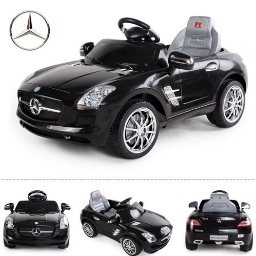 crooza *2X Motoren* Original Mercedes-Benz AMG SLS Lizenz Kinderauto Kinderfahrzeug (SCHWARZ)