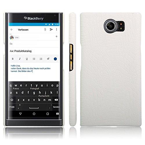 Para los casos de protección del teléfono celular, para el estuche BlackBerry Priv, lujoso y clásico patrón de piel de cocodrilo [Ultra delgado] Estuche rígido protector de PC antirayas de cuero de P