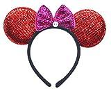 Soleil2012 Haarreif Glitzer Rot Mini Mouse Maus Ohren mit Schleife Fasching Karneval