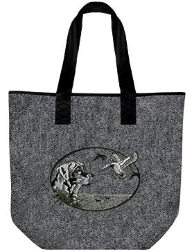 Filztasche mit Stickerei - JAGDMOTIV - HUND ENTE GANS - Shopper Tasche - 26047