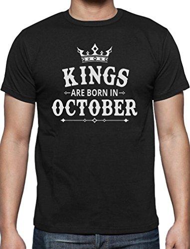 Geschenk T-Shirt für Ihn - Kings are born in Oktober T-Shirt Schwarz