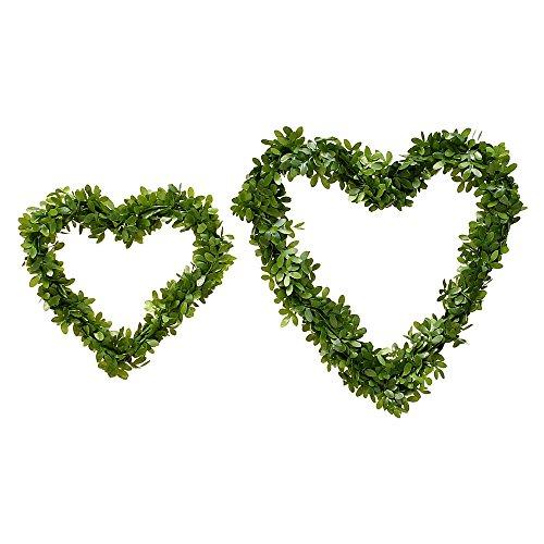 3x Buchsbaum- Herz natürlich, beidseitig, künstlich/ TOP QUALITÄT !!! (10cm / 3 Stück) (Hochzeit Ring Buchsbaum)