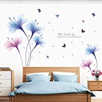 Adhesivo decorativo para pared, chshe orquídea DIY extraíble vinilo de pared familia hogar adhesivo Mural arte decoración para el hogar para salón o dormitorio TV fondo pared