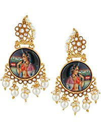 Meenaz Traditional Pearl Jewellery Gold Rani Padmavati Jhumki Party Wear Stylish Jhumka Earrings For Women Girls...
