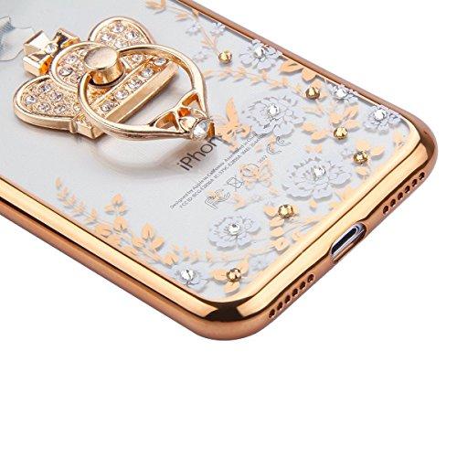 iPhone 7 Case Transparen Slim Silicone,iPhone 7 Coque Transparente Bling Silicone,iPhone 7 Coque Bumper,Coque Housse Etui pour iPhone 7 4.7 Pouce,EMAXELERS iPhone 7 Coque Cristall Silicone TPU Case Sl Bling Flower 8