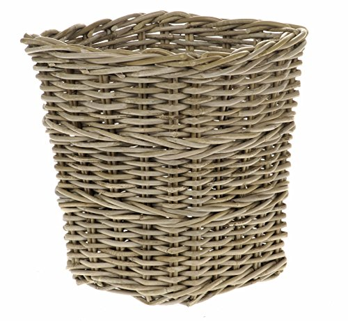 Grau quadratisch Rattan Papierkorb (Rattan-magazin-korb)