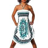 H112 Damen Sommer Aztec Bandeau Bunt Tuch Kleid Tuchkleid Strandkleid Neckholder, Farben:F-023 Türkis;Größen:Einheitsgröße